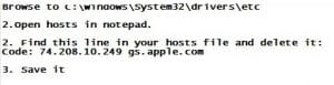 iTunes error 3002 windows iOS 5