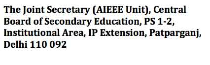 AIEEE 2012 address