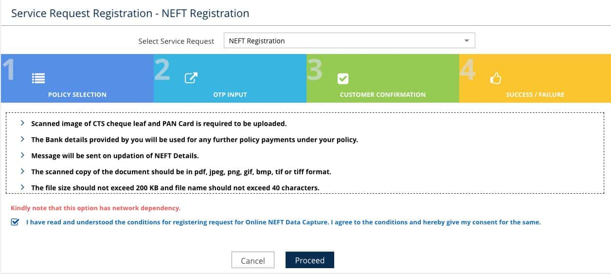 LIC NEFT form online link procedure