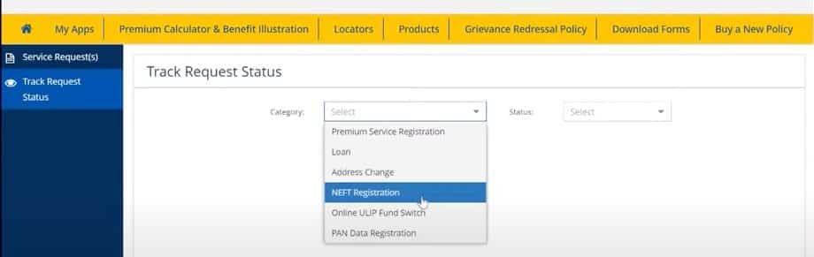 LIC NEFT status of online registration